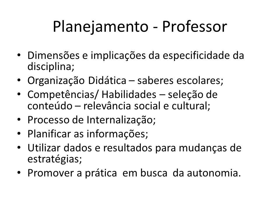 Planejamento - Professor Dimensões e implicações da especificidade da disciplina; Organização Didática – saberes escolares; Competências/ Habilidades