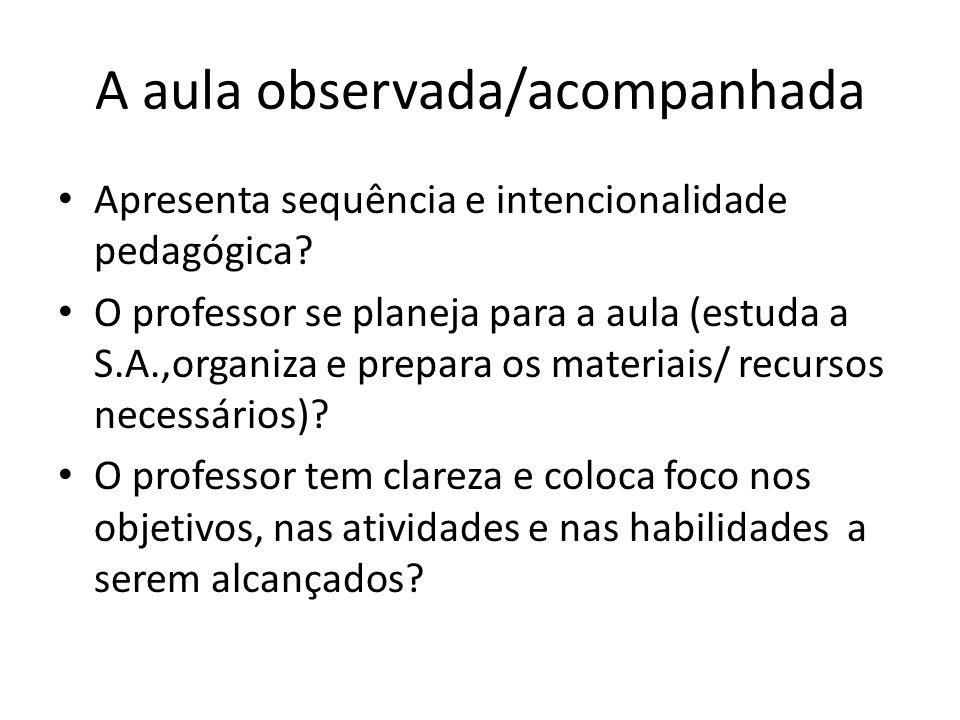 A aula observada/acompanhada Apresenta sequência e intencionalidade pedagógica? O professor se planeja para a aula (estuda a S.A.,organiza e prepara o
