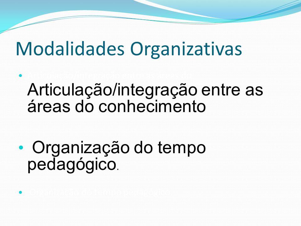 Modalidades Organizativas Articulação/integração entre as áreas do Articulação/integração entre as áreas do conhecimento Organização do tempo pedagógi