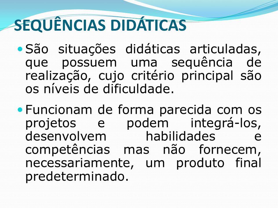 SEQUÊNCIAS DIDÁTICAS São situações didáticas articuladas, que possuem uma sequência de realização, cujo critério principal são os níveis de dificuldad