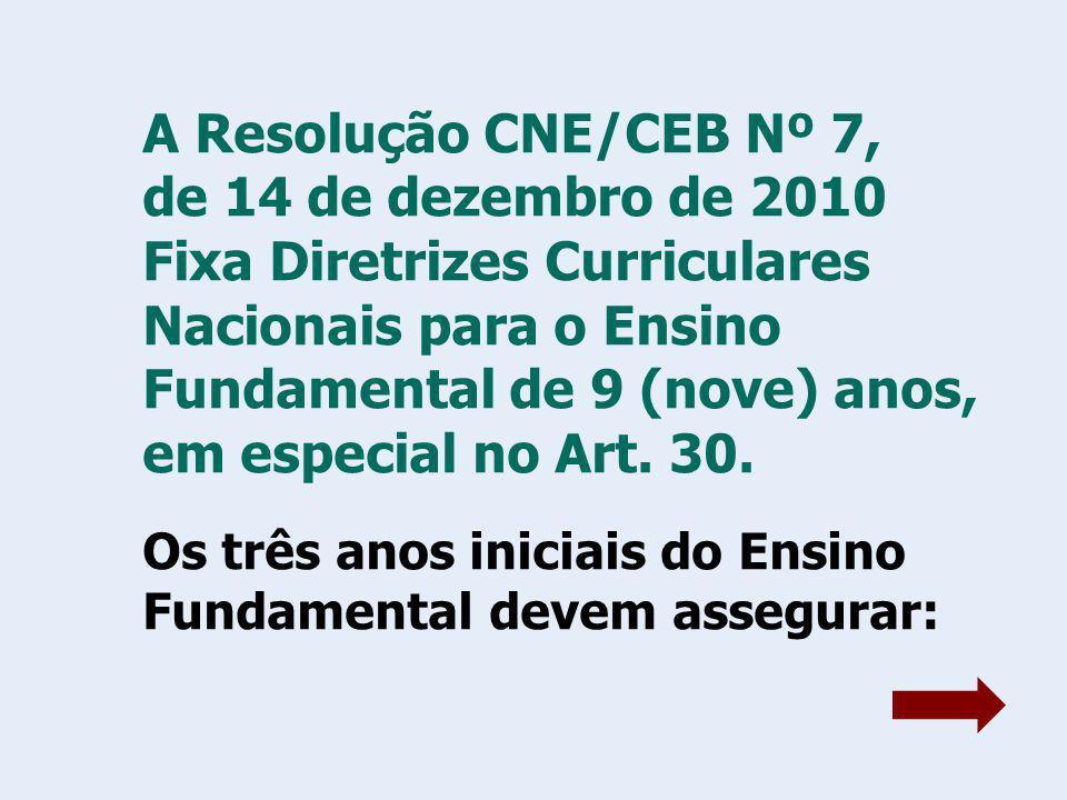 A Resolução CNE/CEB Nº 7, de 14 de dezembro de 2010 Fixa Diretrizes Curriculares Nacionais para o Ensino Fundamental de 9 (nove) anos, em especial no Art.