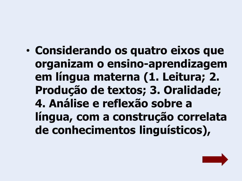 Considerando os quatro eixos que organizam o ensino-aprendizagem em língua materna (1. Leitura; 2. Produção de textos; 3. Oralidade; 4. Análise e refl