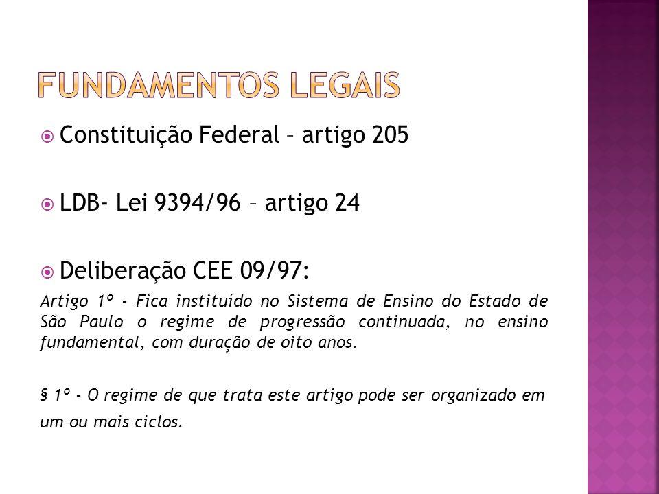 Constituição Federal – artigo 205 LDB- Lei 9394/96 – artigo 24 Deliberação CEE 09/97: Artigo 1º - Fica instituído no Sistema de Ensino do Estado de Sã