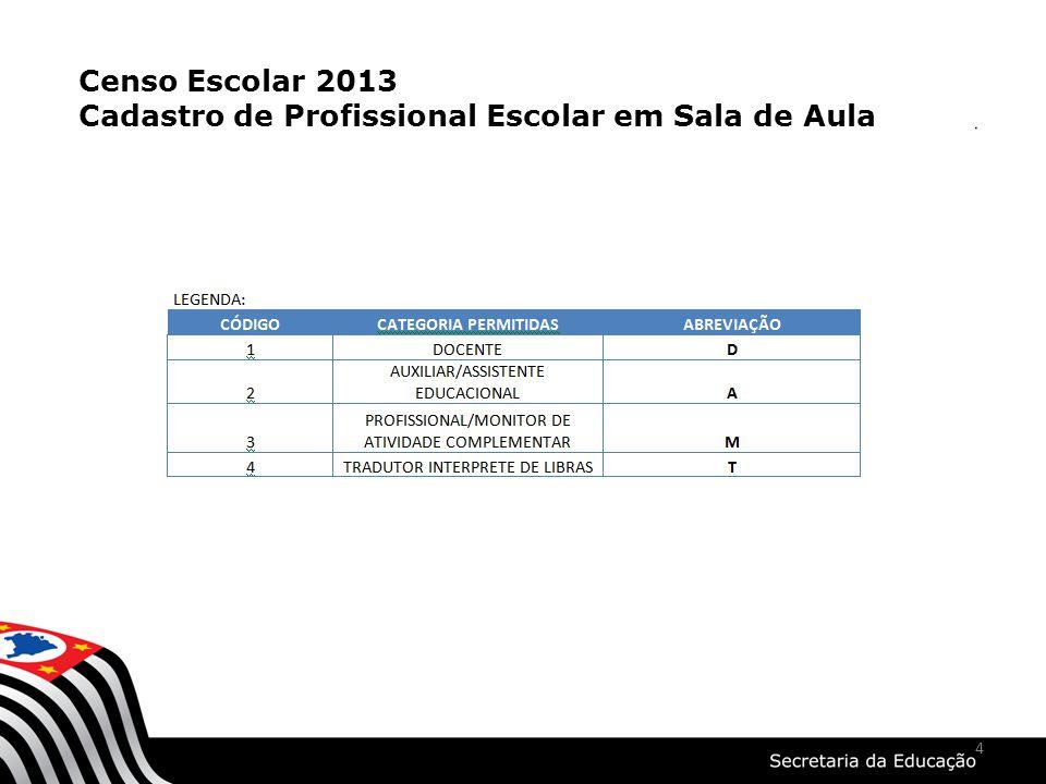 4 Censo Escolar 2013 Cadastro de Profissional Escolar em Sala de Aula