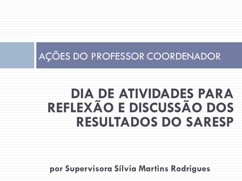 DIA DE ATIVIDADES PARA REFLEXÃO E DISCUSSÃO DOS RESULTADOS DO SARESP por Supervisora Sílvia Martins Rodrigues AÇÕES DO PROFESSOR COORDENADOR