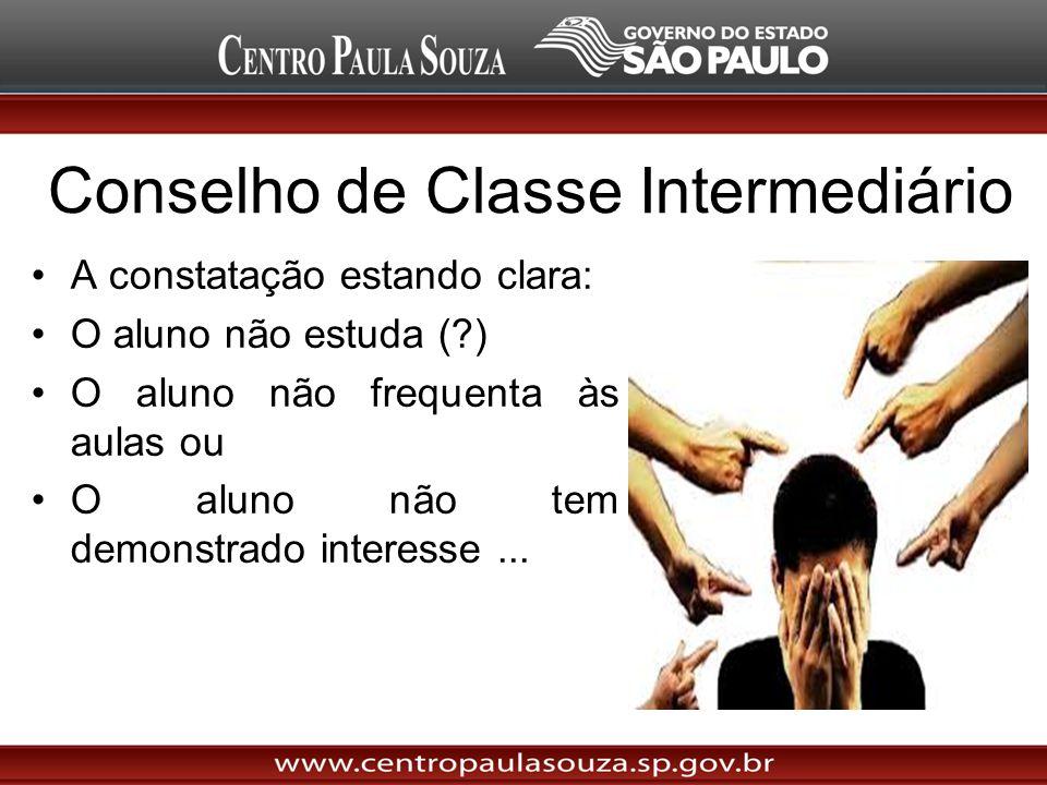 Conselho de Classe Intermediário A constatação estando clara: O aluno não estuda (?) O aluno não frequenta às aulas ou O aluno não tem demonstrado int