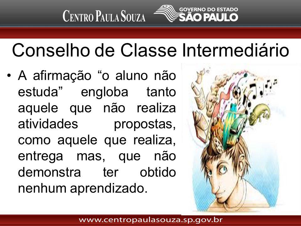Conselho de Classe Intermediário A afirmação o aluno não estuda engloba tanto aquele que não realiza atividades propostas, como aquele que realiza, en