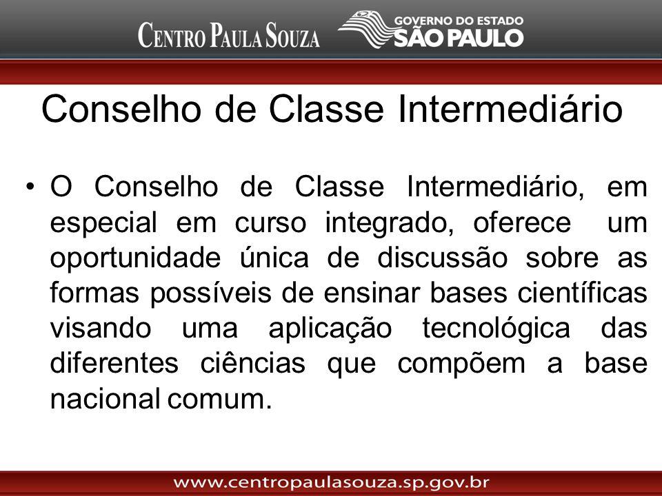 Conselho de Classe Intermediário O Conselho de Classe Intermediário, em especial em curso integrado, oferece um oportunidade única de discussão sobre