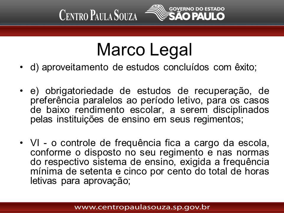 Marco Legal d) aproveitamento de estudos concluídos com êxito; e) obrigatoriedade de estudos de recuperação, de preferência paralelos ao período letiv