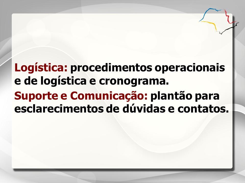 Logística: procedimentos operacionais e de logística e cronograma. Suporte e Comunicação: plantão para esclarecimentos de dúvidas e contatos.