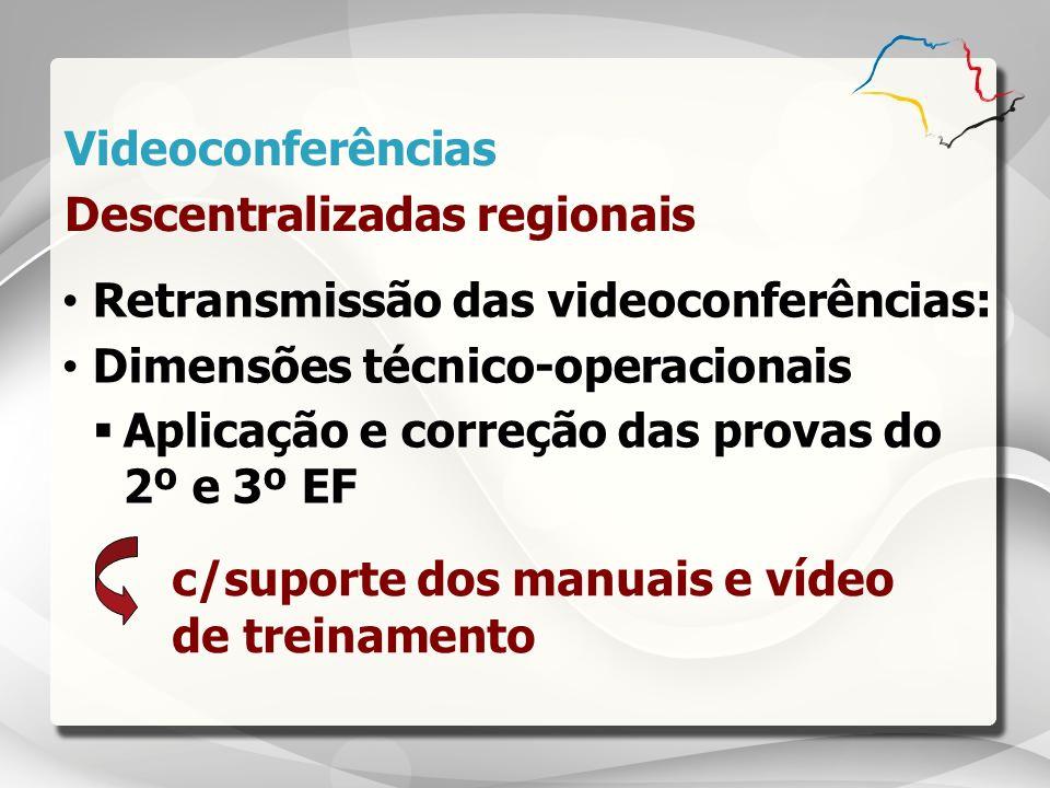 c/suporte dos manuais e vídeo de treinamento Retransmissão das videoconferências: Dimensões técnico-operacionais Aplicação e correção das provas do 2º