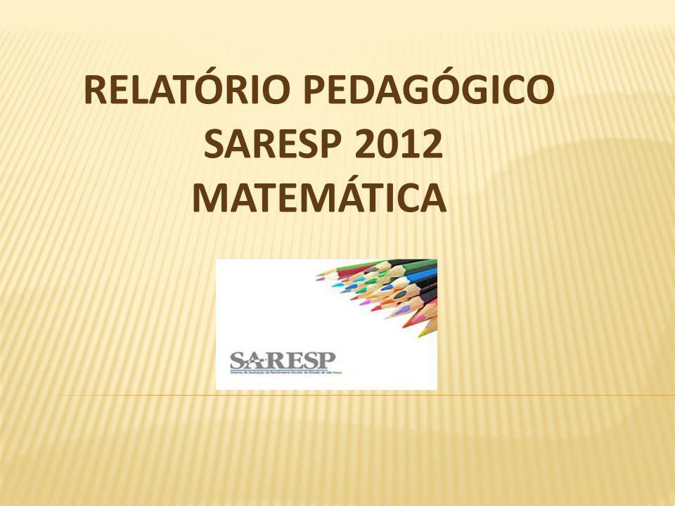 RELATÓRIO PEDAGÓGICO SARESP 2012 MATEMÁTICA