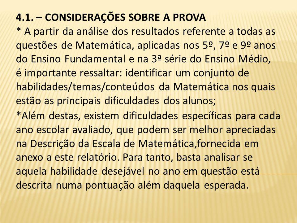 4.1. – CONSIDERAÇÕES SOBRE A PROVA * A partir da análise dos resultados referente a todas as questões de Matemática, aplicadas nos 5º, 7º e 9º anos do