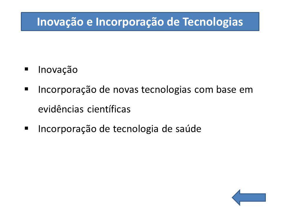 Inovação Incorporação de novas tecnologias com base em evidências científicas Incorporação de tecnologia de saúde Inovação e Incorporação de Tecnologias