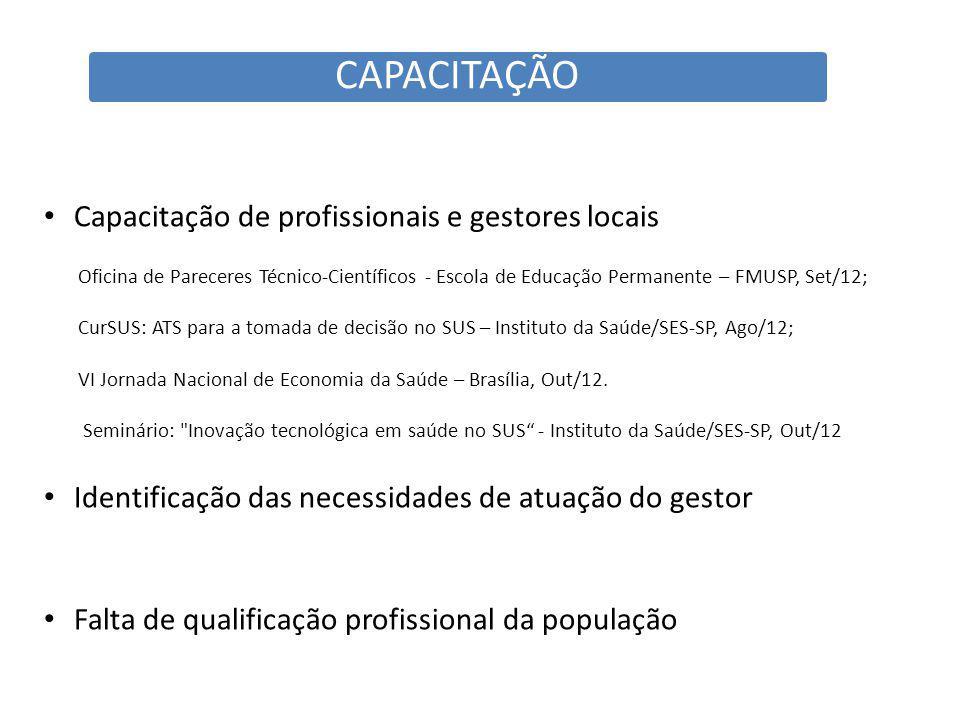 CAPACITAÇÃO Capacitação de profissionais e gestores locais Oficina de Pareceres Técnico-Científicos - Escola de Educação Permanente – FMUSP, Set/12; CurSUS: ATS para a tomada de decisão no SUS – Instituto da Saúde/SES-SP, Ago/12; VI Jornada Nacional de Economia da Saúde – Brasília, Out/12.