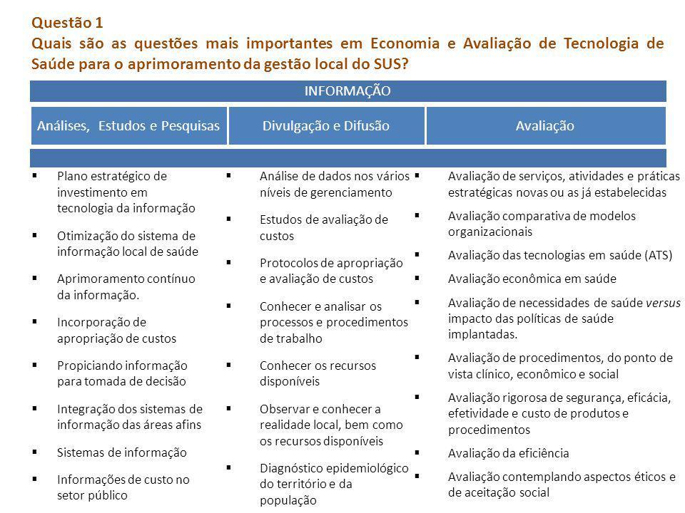 INFORMAÇÃO Análises, Estudos e PesquisasDivulgação e DifusãoAvaliação Plano estratégico de investimento em tecnologia da informação Otimização do sist