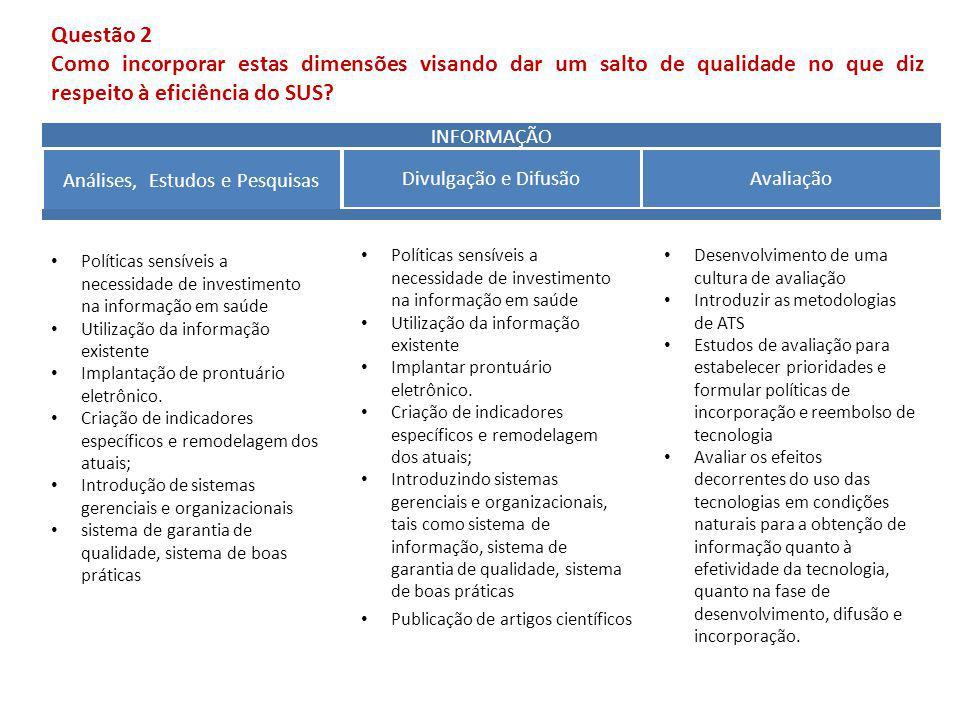 INFORMAÇÃO Análises, Estudos e Pesquisas Divulgação e Difusão Avaliação Políticas sensíveis a necessidade de investimento na informação em saúde Utili