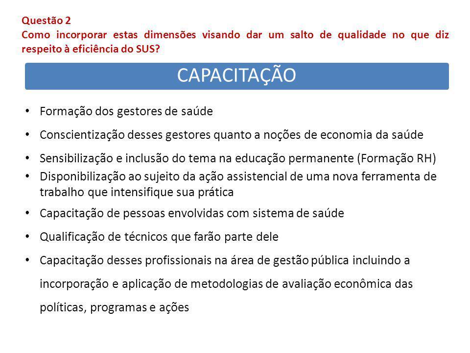 CAPACITAÇÃO Formação dos gestores de saúde Conscientização desses gestores quanto a noções de economia da saúde Sensibilização e inclusão do tema na e