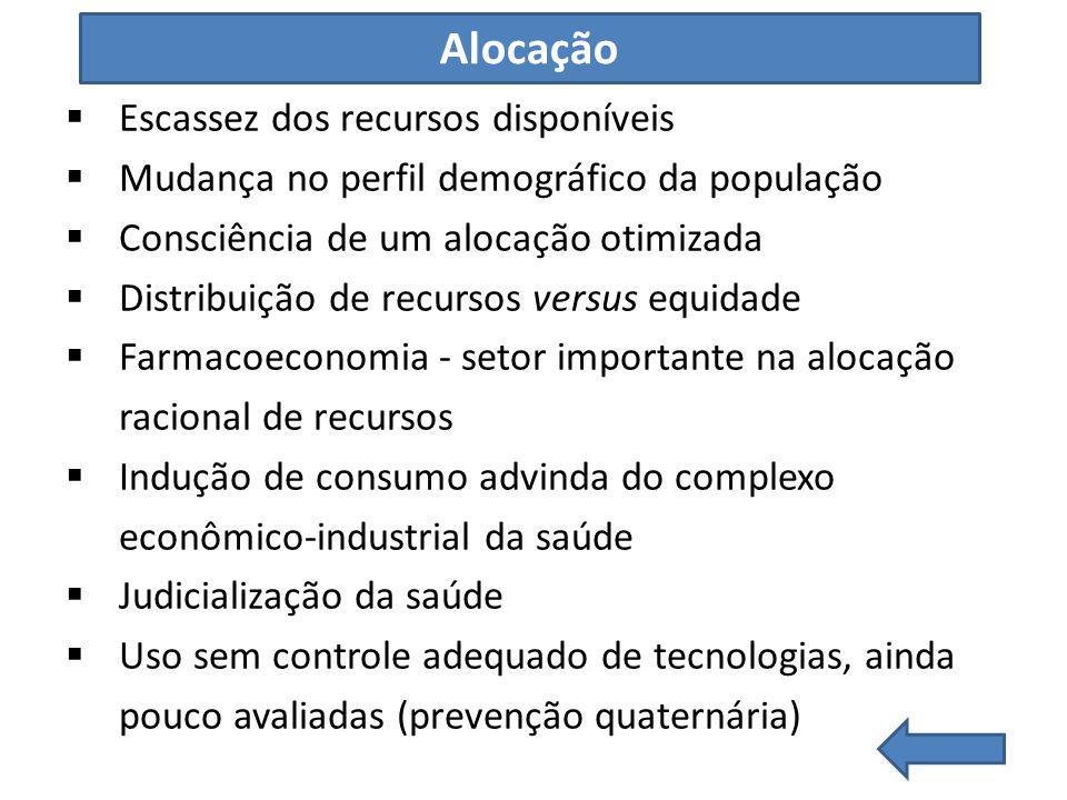 Alocação Escassez dos recursos disponíveis Mudança no perfil demográfico da população Consciência de um alocação otimizada Distribuição de recursos ve