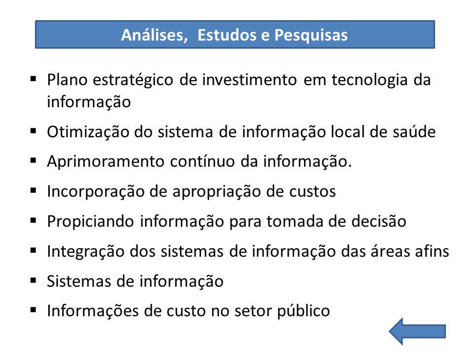 Plano estratégico de investimento em tecnologia da informação Otimização do sistema de informação local de saúde Aprimoramento contínuo da informação.