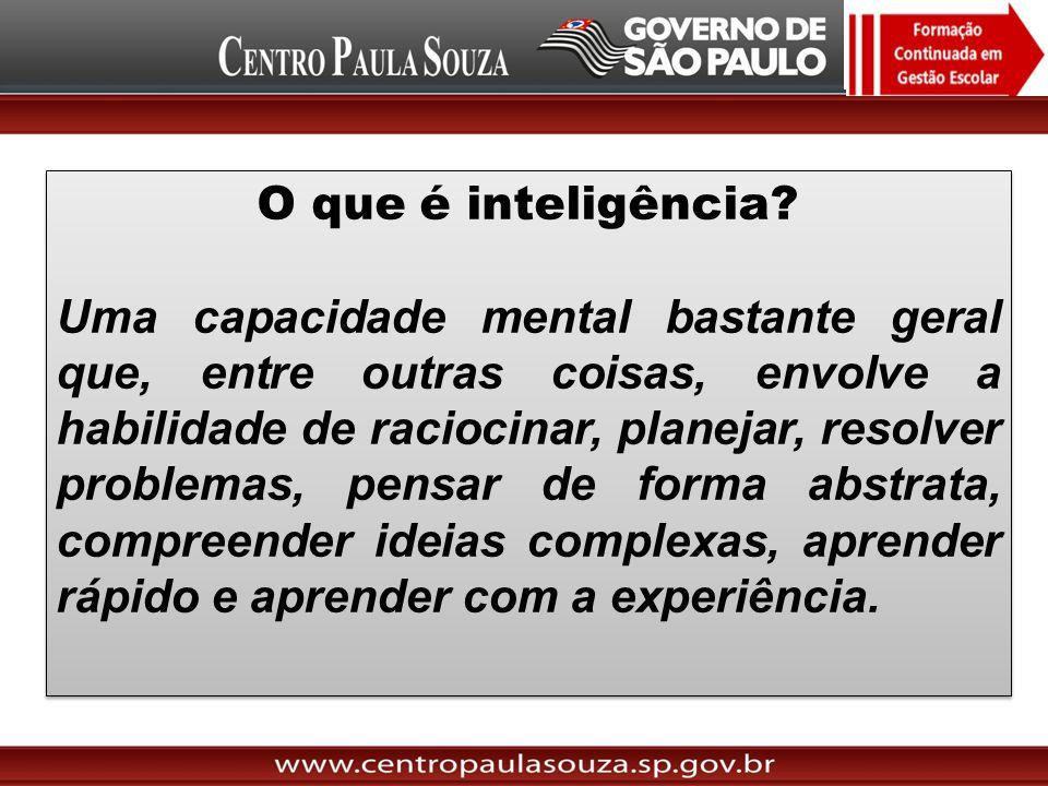 O que é inteligência? Uma capacidade mental bastante geral que, entre outras coisas, envolve a habilidade de raciocinar, planejar, resolver problemas,