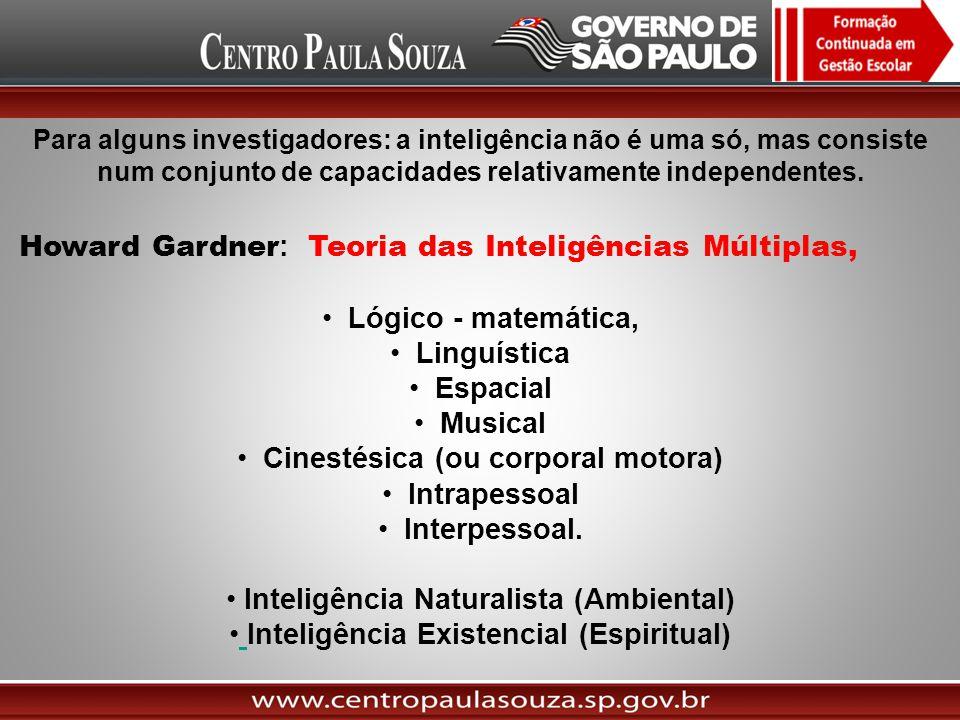 Para alguns investigadores: a inteligência não é uma só, mas consiste num conjunto de capacidades relativamente independentes. Howard Gardner : Teoria