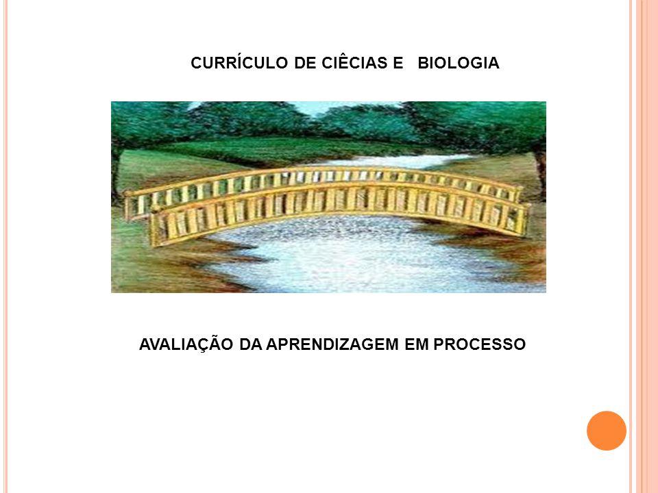 CURRÍCULO DE CIÊCIAS E BIOLOGIA AVALIAÇÃO DA APRENDIZAGEM EM PROCESSO