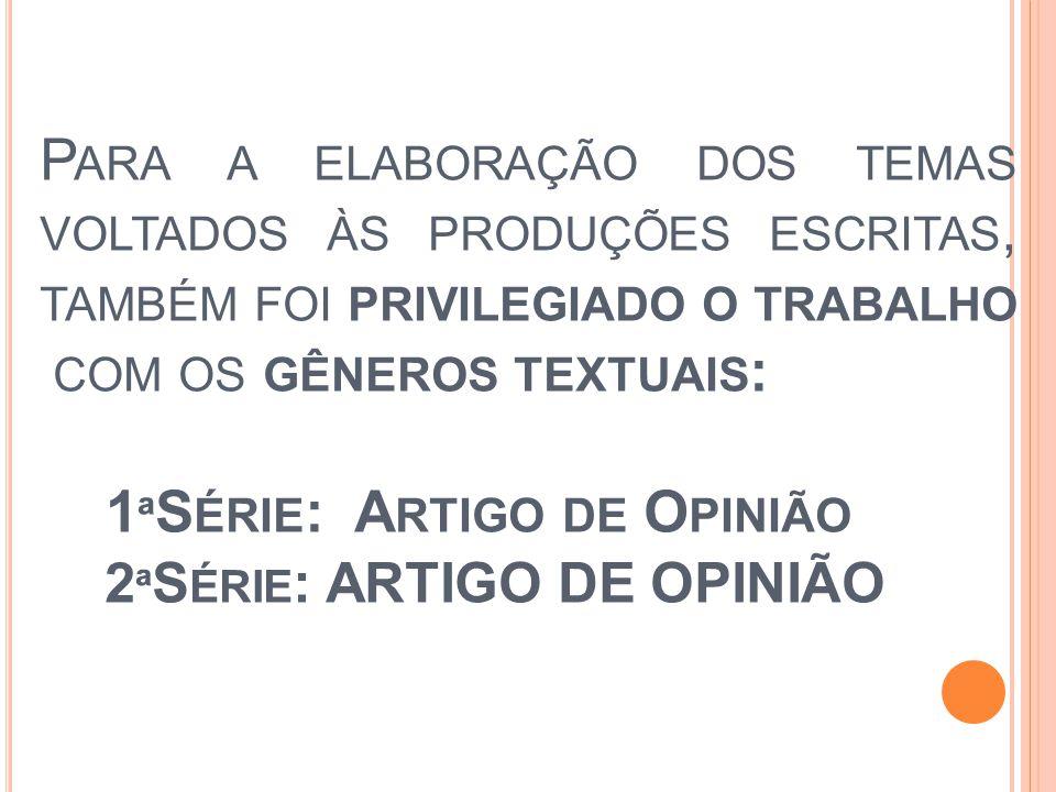 1 ª S ÉRIE DO E NSINO M ÉDIO PRODUÇÃO ESCRITA ARTIGO DE OPINIÃO