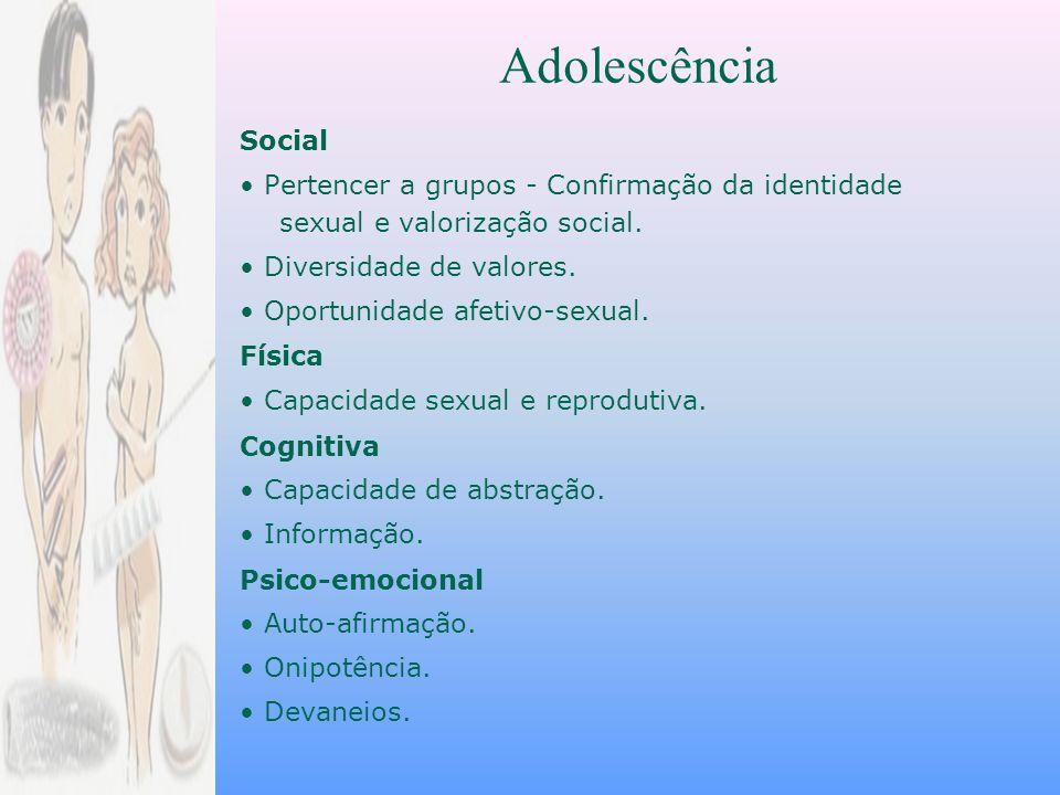 Social Pertencer a grupos - Confirmação da identidade sexual e valorização social.