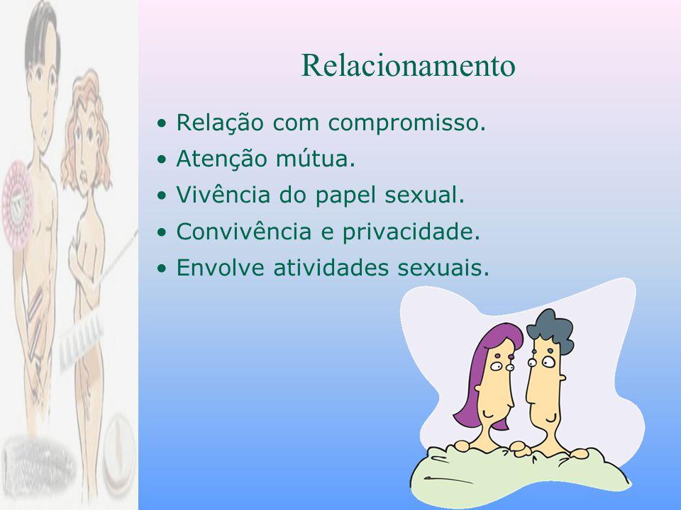 Relação com compromisso.Atenção mútua. Vivência do papel sexual.