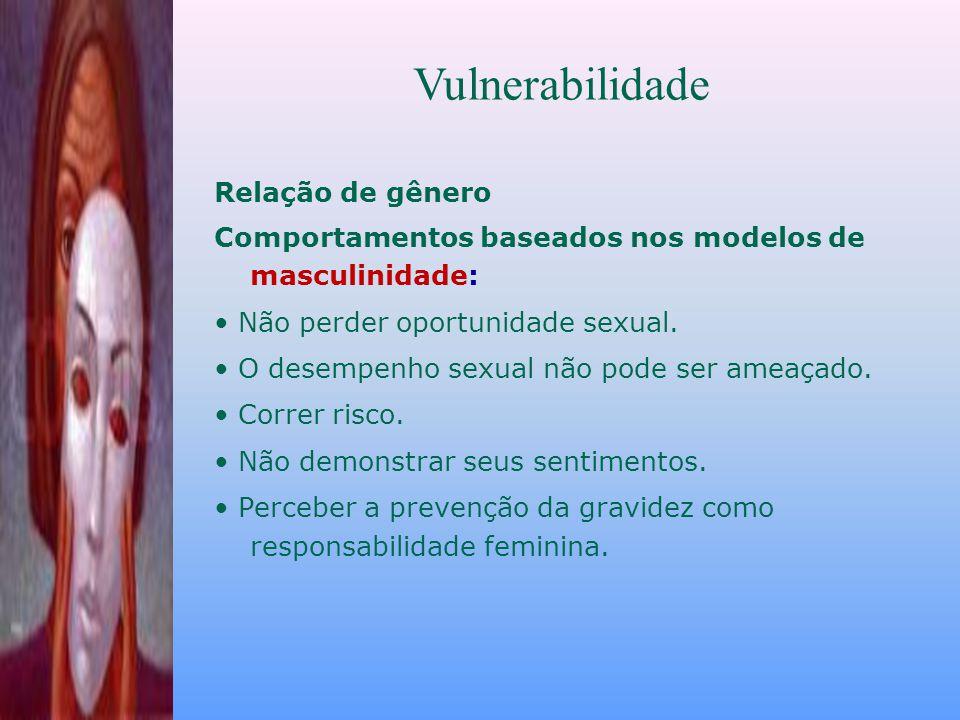 Relação de gênero Comportamentos baseados nos modelos de masculinidade: Não perder oportunidade sexual.