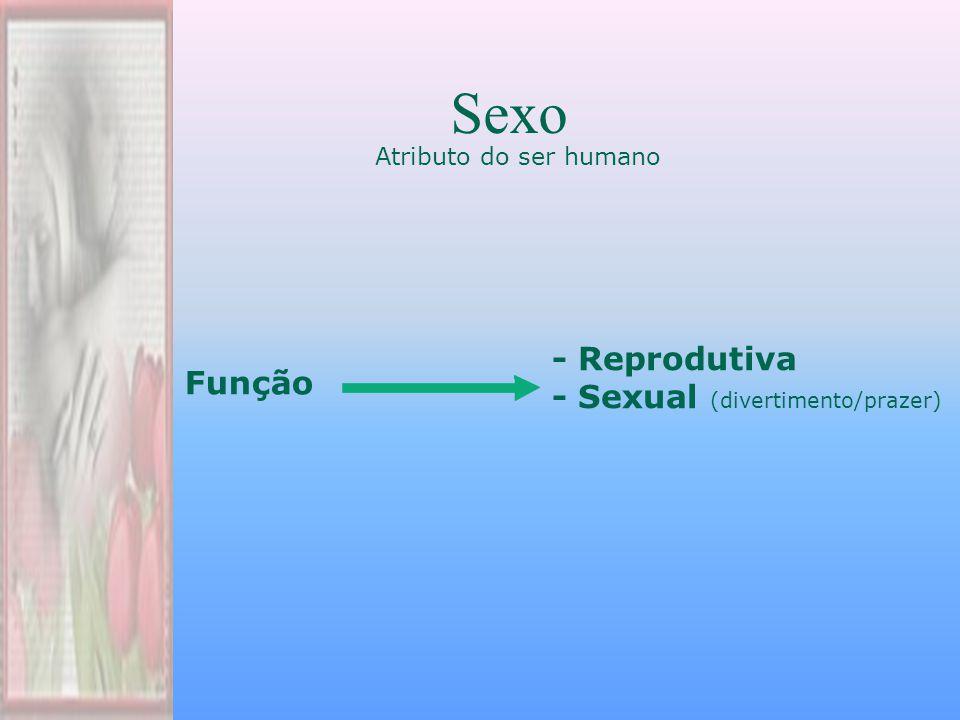 Atributo do ser humano Sexo Função - Reprodutiva - Sexual (divertimento/prazer)