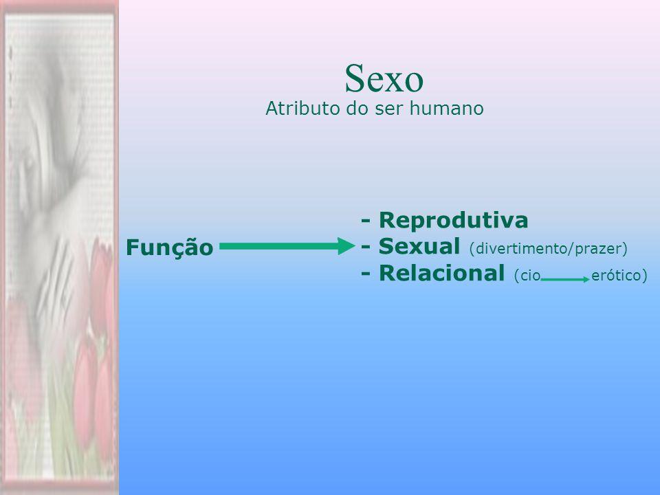 Atributo do ser humano Sexo - Reprodutiva - Sexual (divertimento/prazer) - Relacional (cio erótico) Função