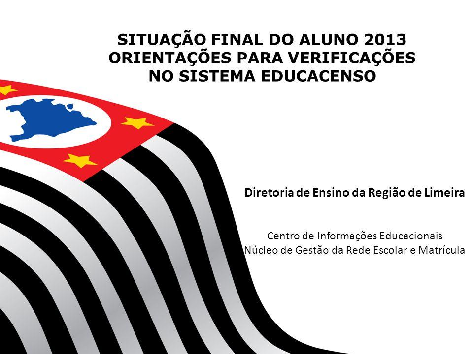 SITUAÇÃO FINAL DO ALUNO 2013 ORIENTAÇÕES PARA VERIFICAÇÕES NO SISTEMA EDUCACENSO Diretoria de Ensino da Região de Limeira Centro de Informações Educac