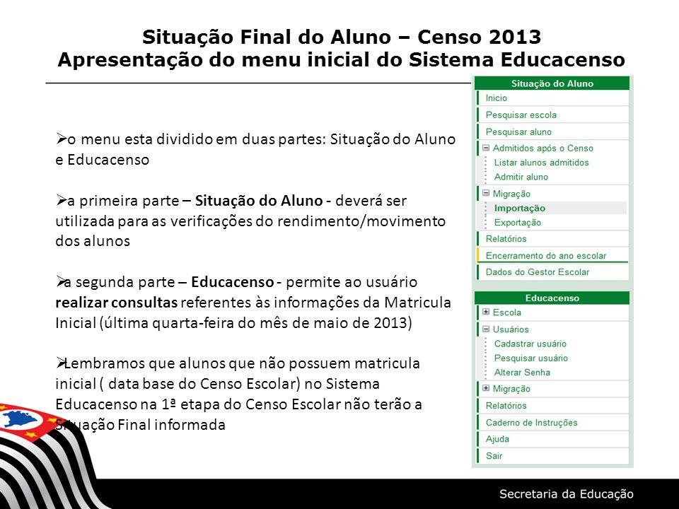 Situação Final do Aluno – Censo 2013 Apresentação do menu inicial do Sistema Educacenso o menu esta dividido em duas partes: Situação do Aluno e Educa