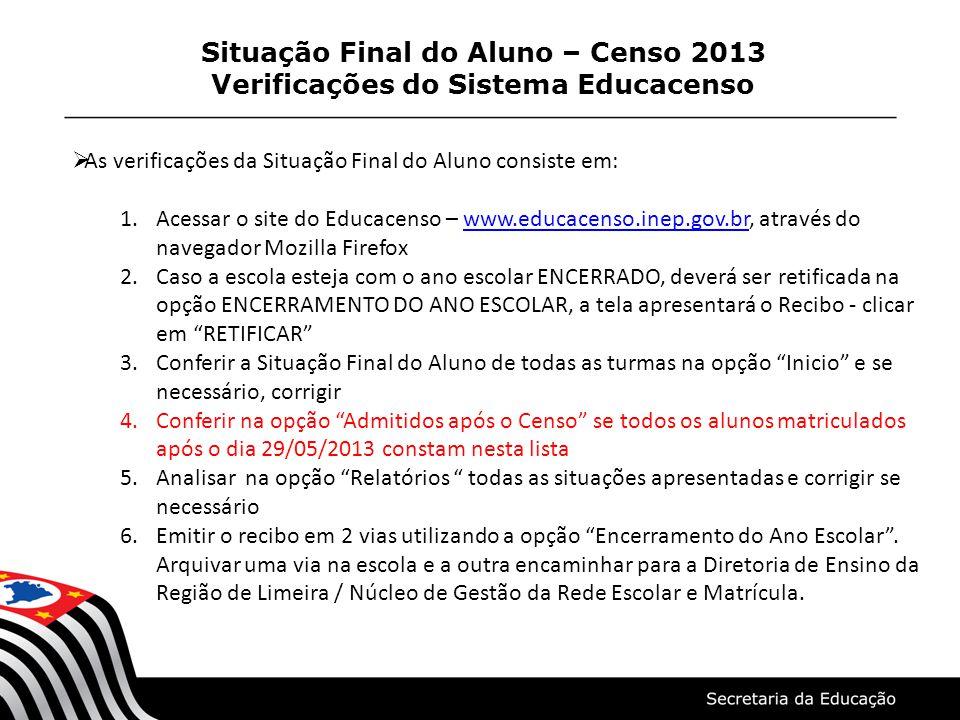 Situação Final do Aluno – Censo 2013 Verificações do Sistema Educacenso As verificações da Situação Final do Aluno consiste em: 1.Acessar o site do Ed
