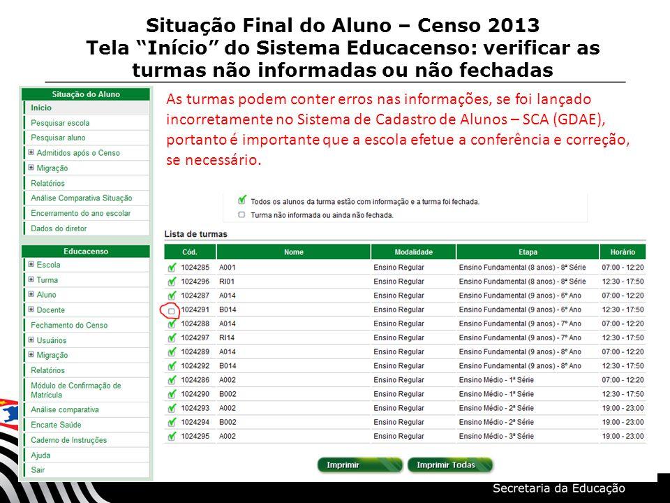 Situação Final do Aluno – Censo 2013 Tela Início do Sistema Educacenso: verificar as turmas não informadas ou não fechadas As turmas podem conter erro