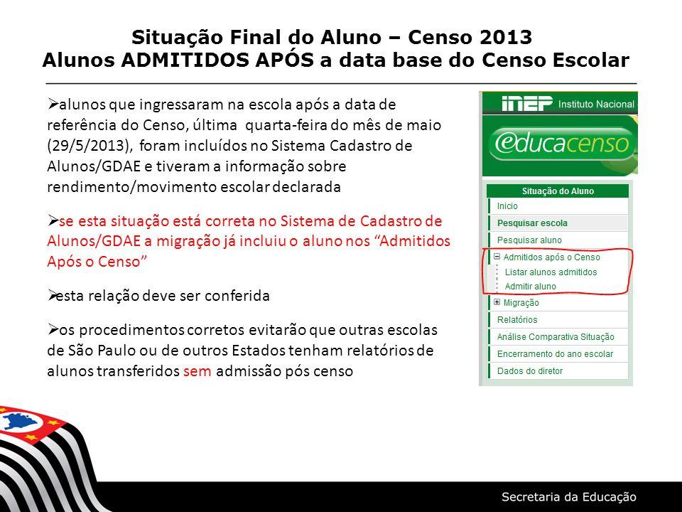 Situação Final do Aluno – Censo 2013 Alunos ADMITIDOS APÓS a data base do Censo Escolar alunos que ingressaram na escola após a data de referência do