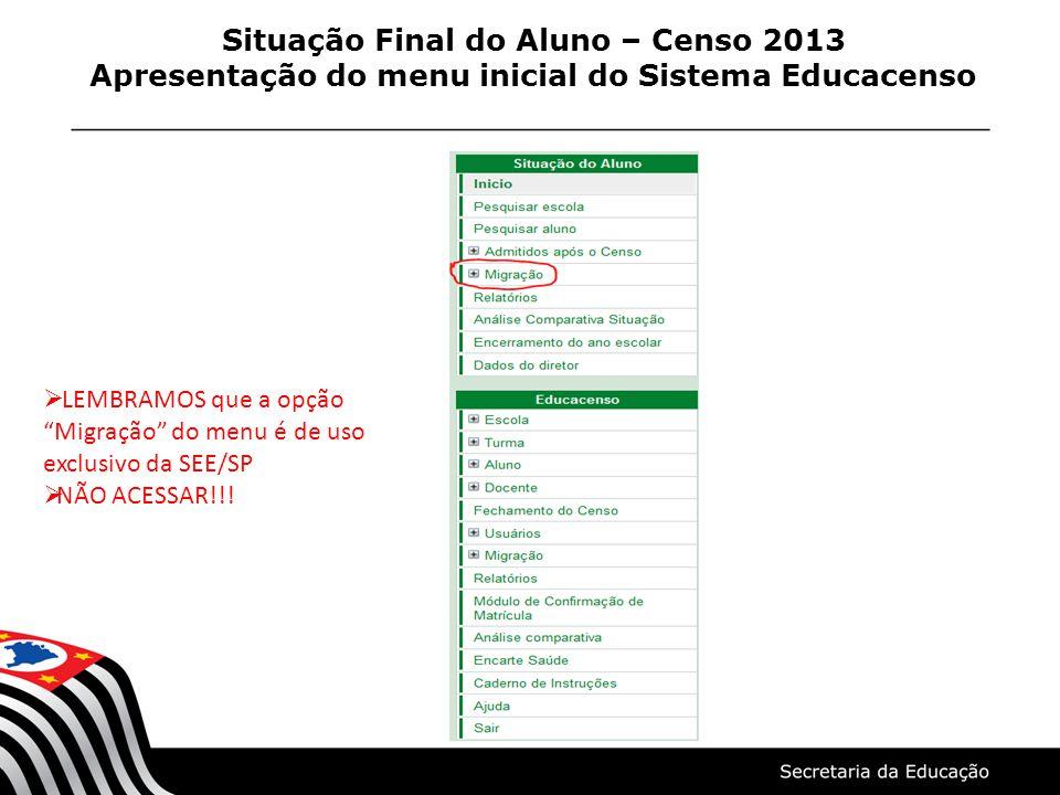 Situação Final do Aluno – Censo 2013 Apresentação do menu inicial do Sistema Educacenso LEMBRAMOS que a opção Migração do menu é de uso exclusivo da S