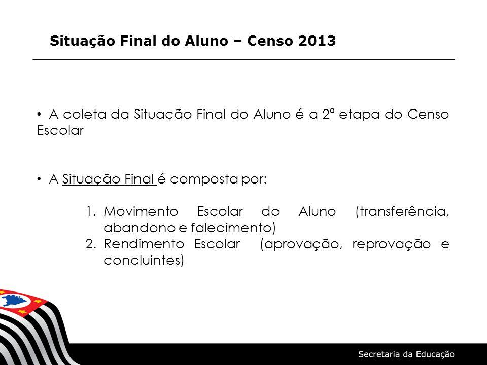 Situação Final do Aluno – Censo 2013 A coleta da Situação Final do Aluno é a 2ª etapa do Censo Escolar A Situação Final é composta por: 1.Movimento Es