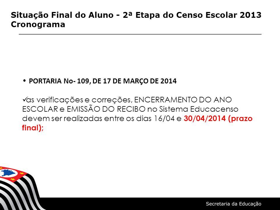 Situação Final do Aluno - 2ª Etapa do Censo Escolar 2013 Cronograma PORTARIA No- 109, DE 17 DE MARÇO DE 2014 as verificações e correções, ENCERRAMENTO