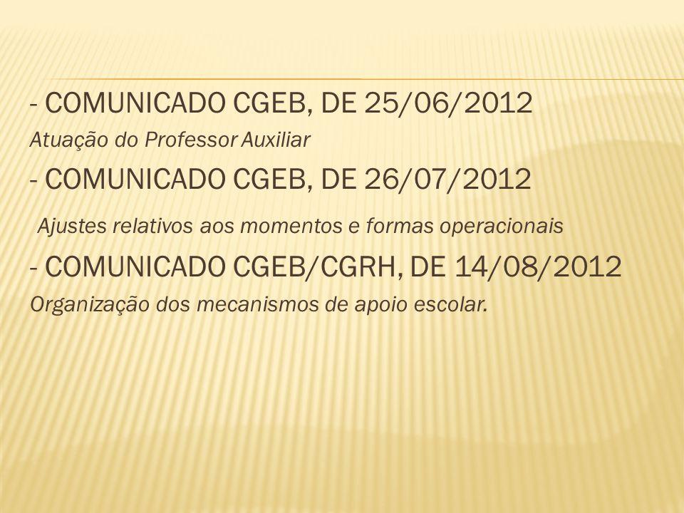 - COMUNICADO CGEB, DE 25/06/2012 Atuação do Professor Auxiliar - COMUNICADO CGEB, DE 26/07/2012 Ajustes relativos aos momentos e formas operacionais - COMUNICADO CGEB/CGRH, DE 14/08/2012 Organização dos mecanismos de apoio escolar.