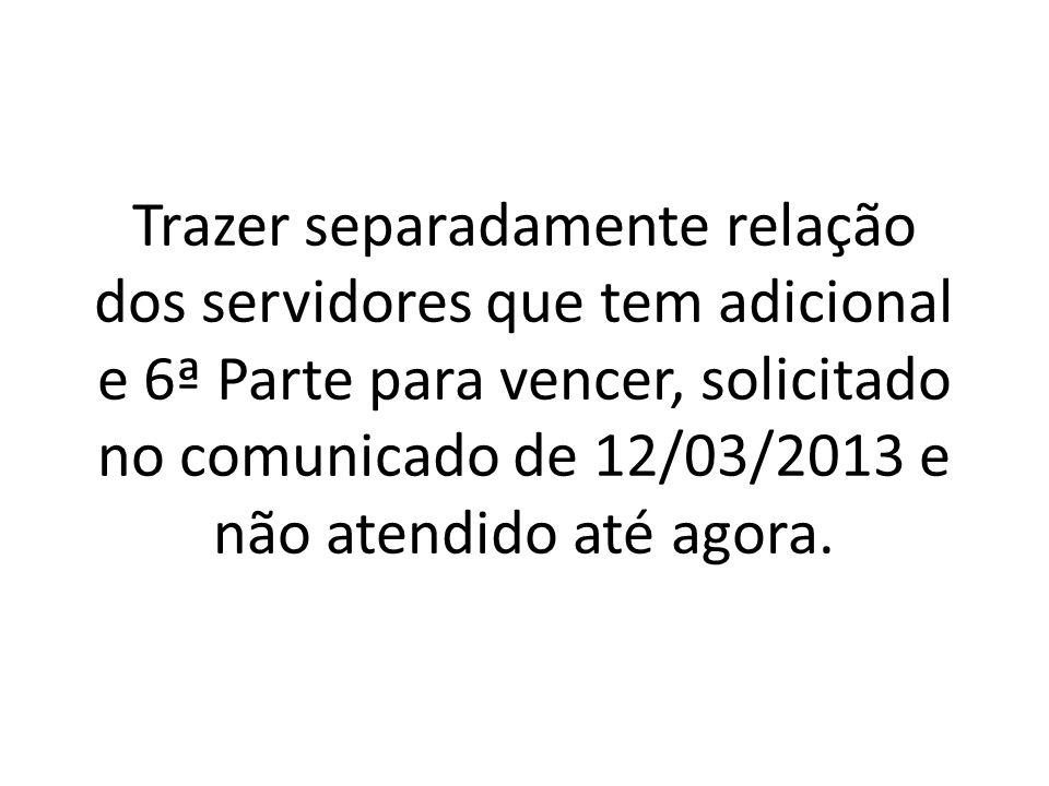 Trazer separadamente relação dos servidores que tem adicional e 6ª Parte para vencer, solicitado no comunicado de 12/03/2013 e não atendido até agora.