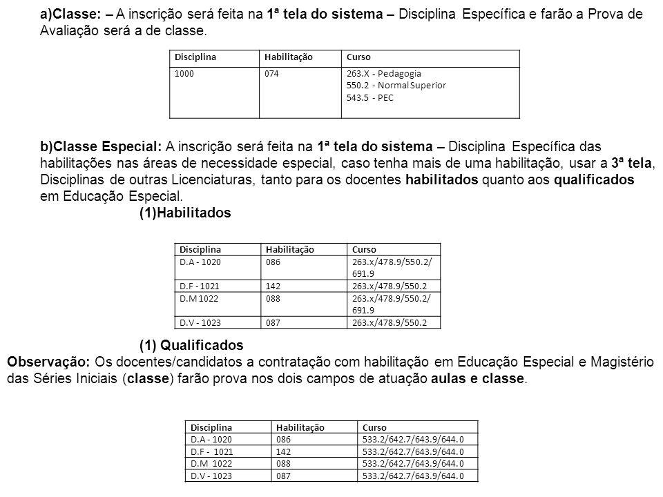 DisciplinaHabilitaçãoCurso 1000074263.X - Pedagogia 550.2 - Normal Superior 543.5 - PEC DisciplinaHabilitaçãoCurso D.A - 1020086263.x/478.9/550.2/ 691
