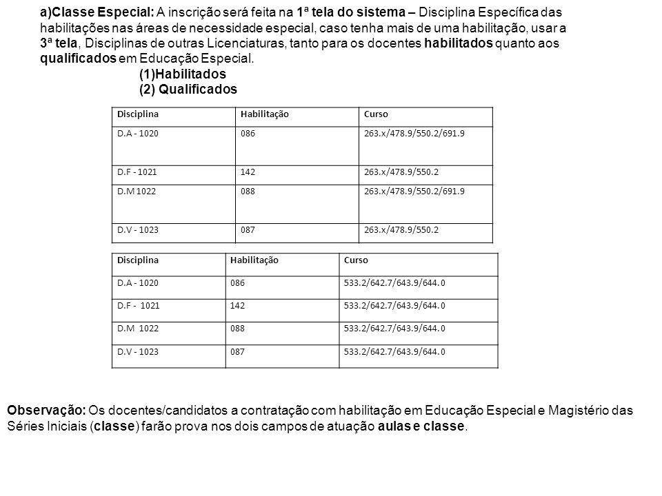 DisciplinaHabilitaçãoCurso D.A - 1020086263.x/478.9/550.2/691.9 D.F - 1021142263.x/478.9/550.2 D.M 1022088263.x/478.9/550.2/691.9 D.V - 1023087263.x/4
