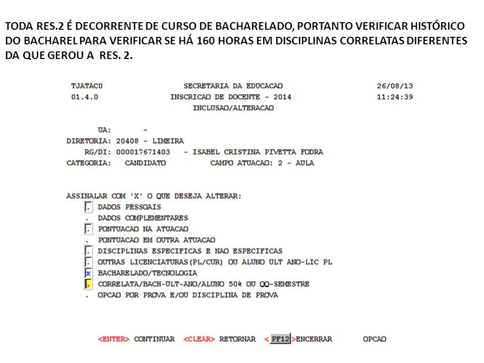 TODA RES.2 É DECORRENTE DE CURSO DE BACHARELADO, PORTANTO VERIFICAR HISTÓRICO DO BACHAREL PARA VERIFICAR SE HÁ 160 HORAS EM DISCIPLINAS CORRELATAS DIF