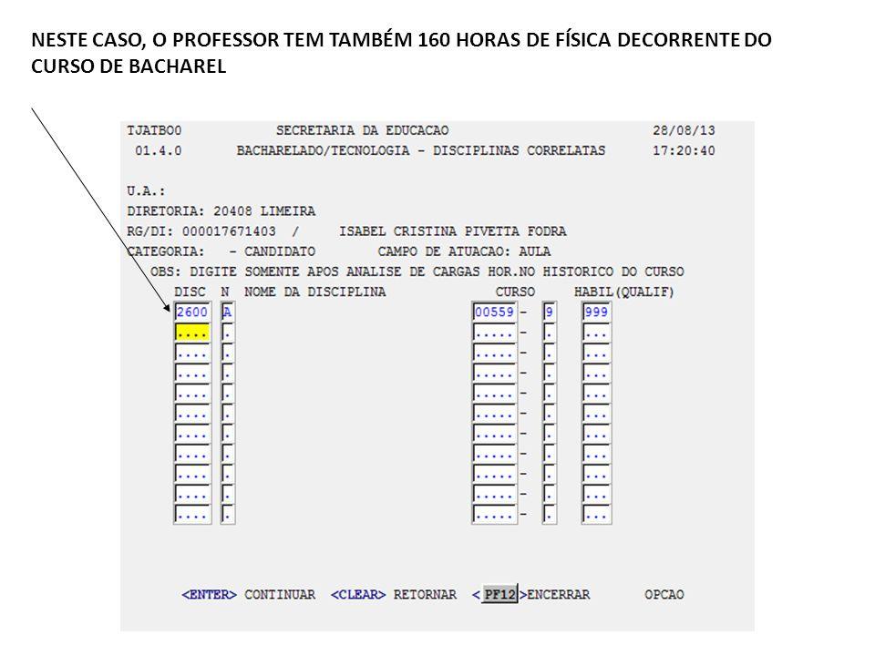 NESTE CASO, O PROFESSOR TEM TAMBÉM 160 HORAS DE FÍSICA DECORRENTE DO CURSO DE BACHAREL