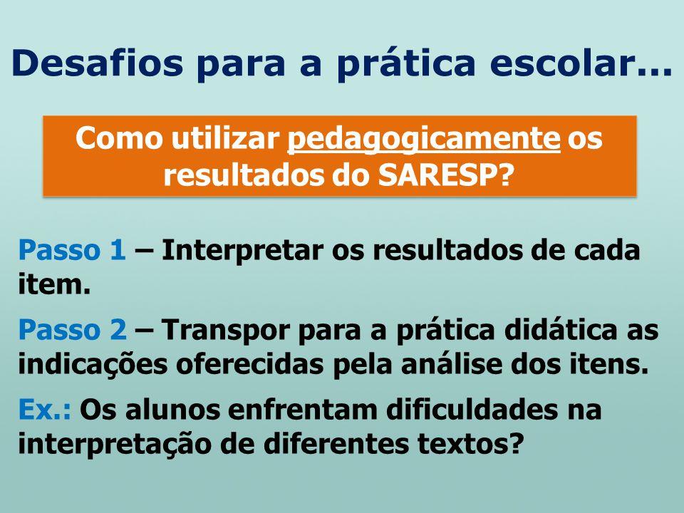 Desafios para a prática escolar... Como utilizar pedagogicamente os resultados do SARESP? Como utilizar pedagogicamente os resultados do SARESP? Passo