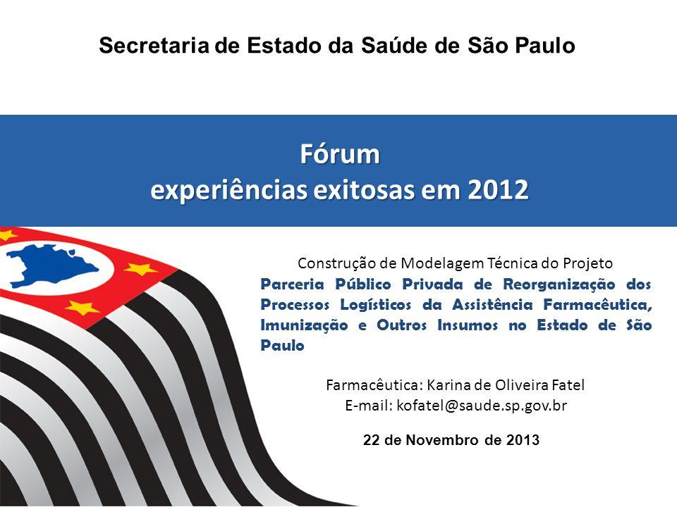22 de Novembro de 2013 Secretaria de Estado da Saúde de São Paulo Fórum experiências exitosas em 2012 Fórum experiências exitosas em 2012 Construção d