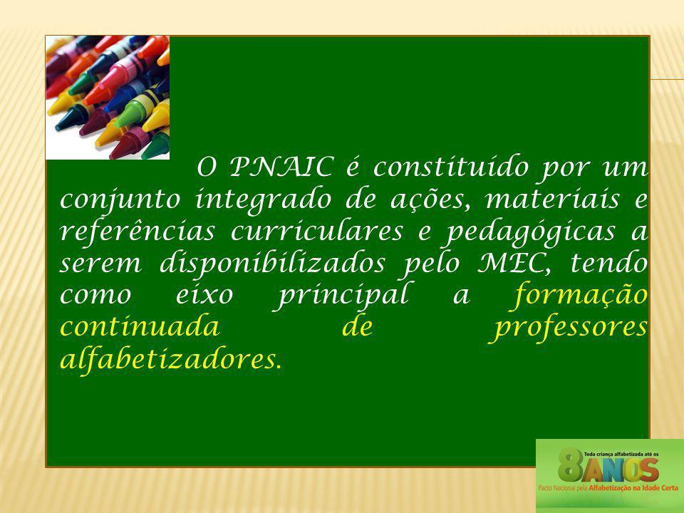 O PNAIC é constituído por um conjunto integrado de ações, materiais e referências curriculares e pedagógicas a serem disponibilizados pelo MEC, tendo